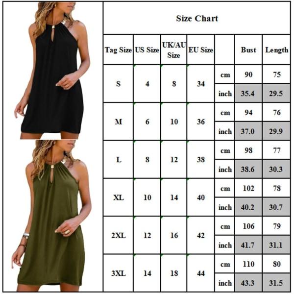 Sexiga halter Kvinnor Solid ärmlösa klänningar Strandklänningar Black M