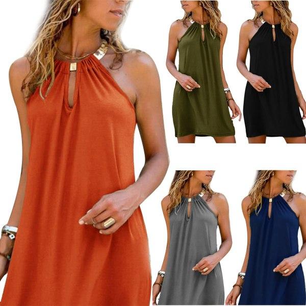 Sexiga halter Kvinnor Solid ärmlösa klänningar Strandklänningar Orange 3XL