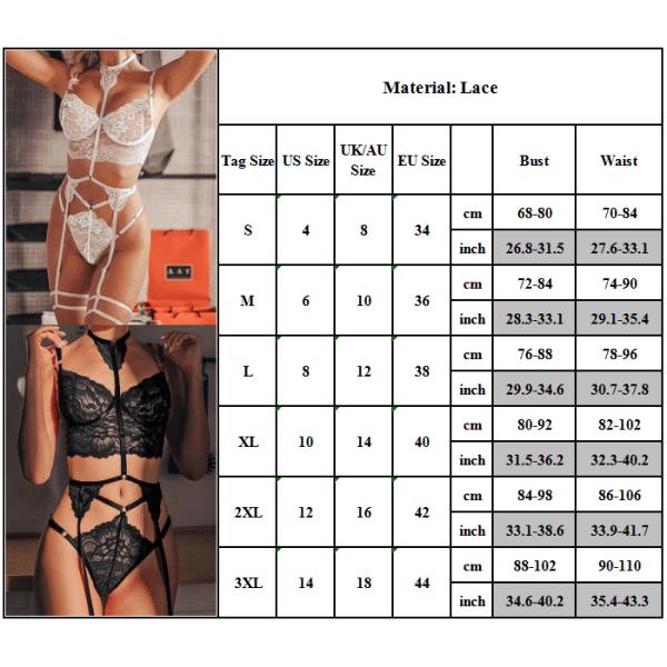 Kvinnor Nightwear Bh Set Sexiga Underkläder Babydoll Svart 2XL