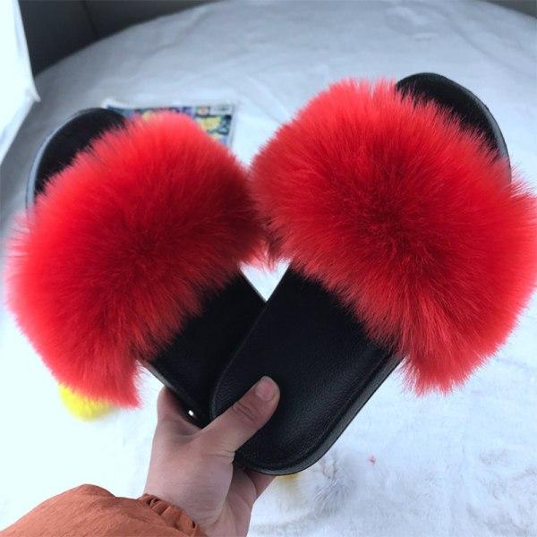 Kvinnor Bekväma Fluffiga Fuskpäls Platt Sliders Tofflor Sandaler Red 39