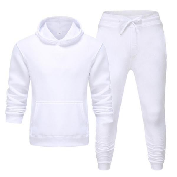 Unisex Träningsdragt Hoodie + Byxa Set Casual Jogging Loungewear Black 2XL