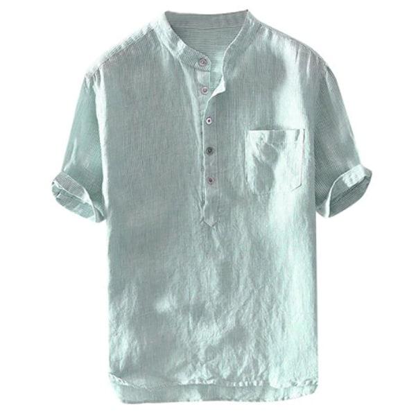 Stående hals Män bomullsknappskjortor Green M
