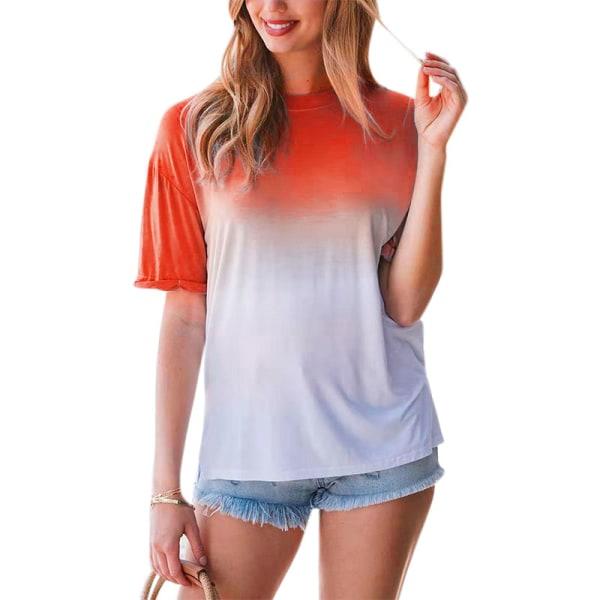 Snygg Gradient Kvinnor T-shirt med halv ärm