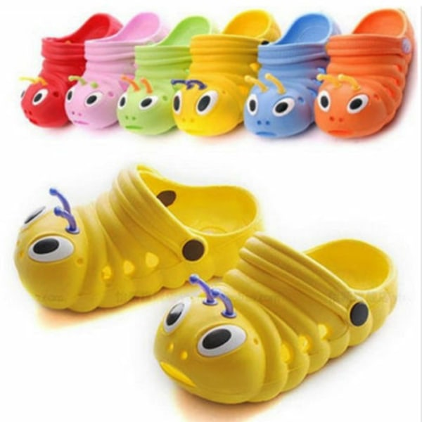 Småbarn Pojkar Flickor Slip på sommar strand sandaler skor Yellow 22