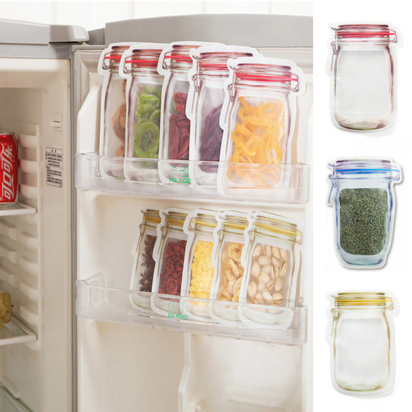 Transparent flaskförvaring Färska återanvändbara påsar 5 ST S