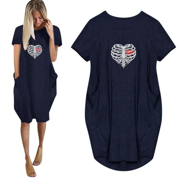 Alla hjärtans dag kvinnor hjärtslagande sommar t-shirt klänning