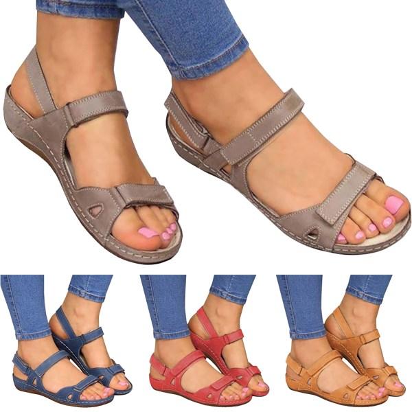 Kvinna Sommar Läder Vintage Sandaler Spänne Buckle Blue 37