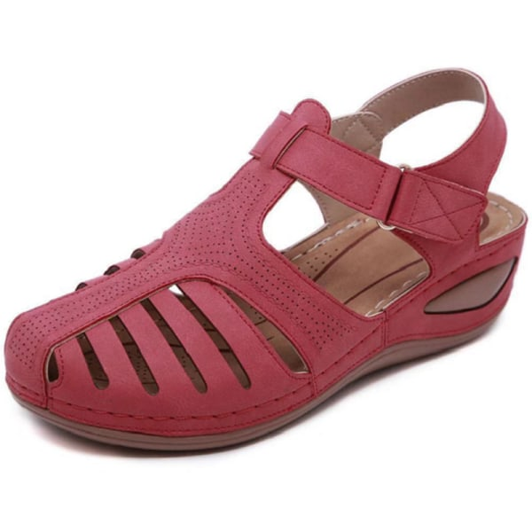 Kvinna sommar läder vintage sandaler retro skor Black 41