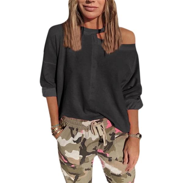 Kvinnor 3/4 ärm en axel damer mode sexig tröja