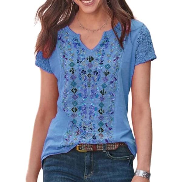 Kvinnor Boho Floral Print Kortärmad V-ringad Casual Loose Top Blue L