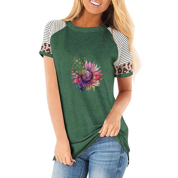 Kvinnor Casual Pullover Kortärmad T-shirt Solrosblus Toppar