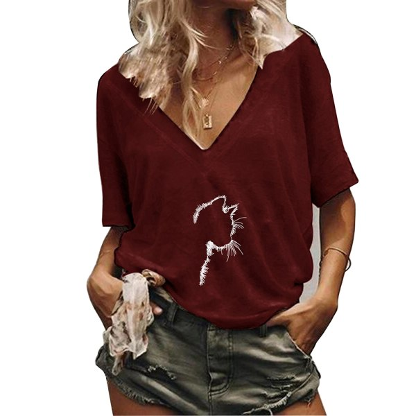 Kvinnor Katt Print Sommar Kortärmad Blus Toppar Casual T-shirts