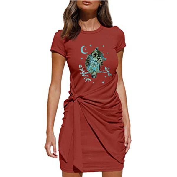 Kvinnors kausala sommar kortärmad miniklänning Bodycon sundress Red M