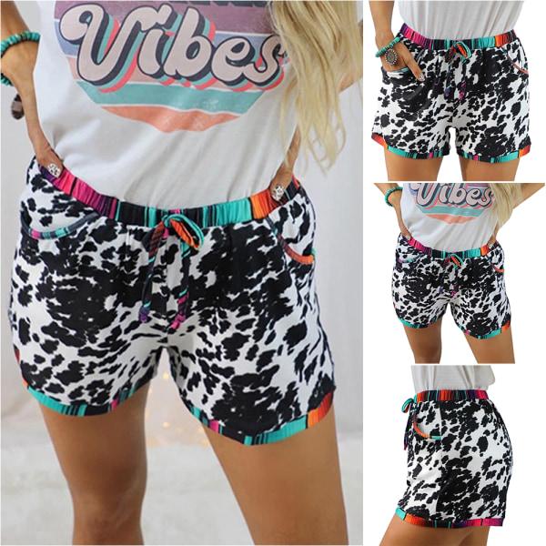 Kvinnor dragsko elastiska midja shorts sommar avslappnad heta byxor S