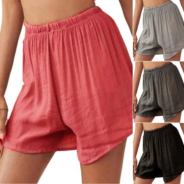 Kvinnors Elastiska Midja Baggy Shorts Fitness Sport Hot Pant Coffee M