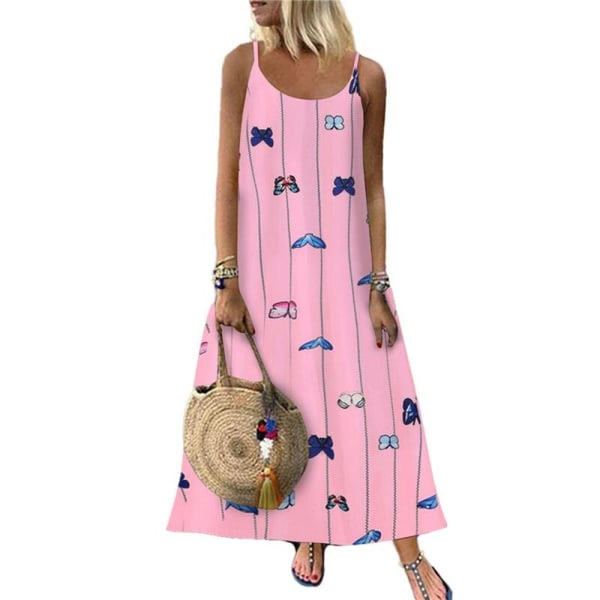 Kvinnors blommiga fjärilsprint Sling Maxiklänning Casual Holiday Pink L
