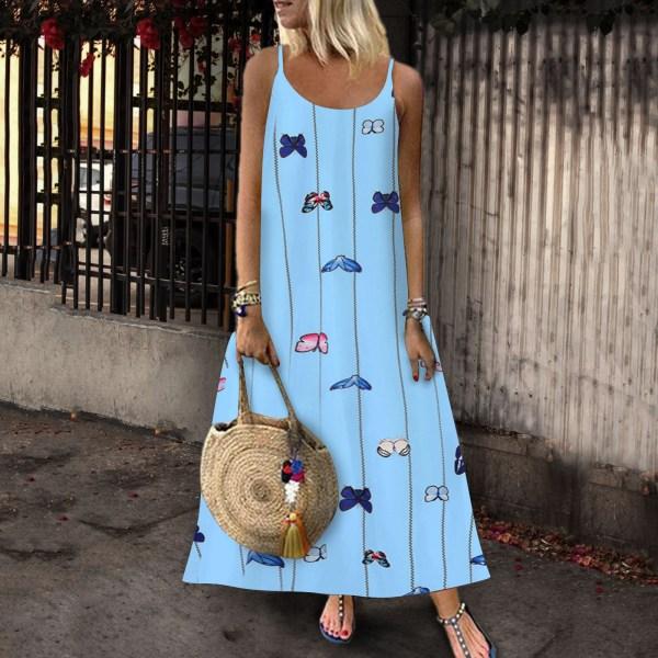 Kvinnors blommiga fjärilsprint Sling Maxiklänning Casual Holiday Starry Light Blue XL