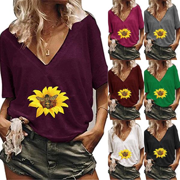 Kvinnor blommigt tryck sommar T-shirt toppar kortärmade blusar