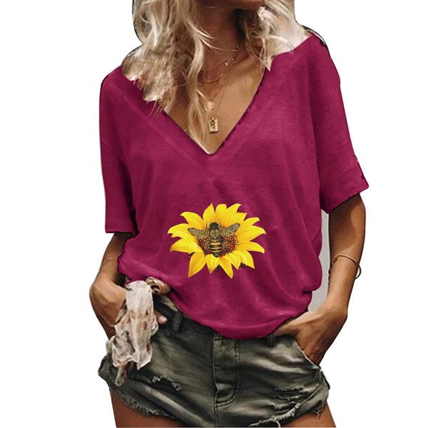 Kvinnor blommigt tryck sommar T-shirt toppar kortärmade blusar Red 2XL