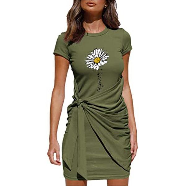 Kvinnors blommigtryckta kortärmad miniklänning snörning på sundress Army Green 2XL