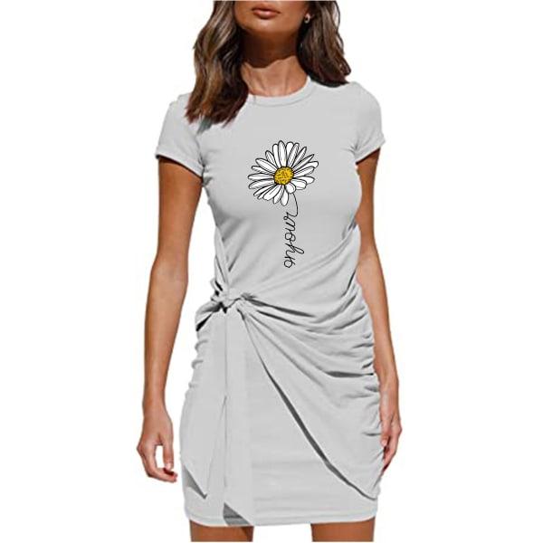 Kvinnors blommigtryckta kortärmad miniklänning snörning på sundress Grey 2XL