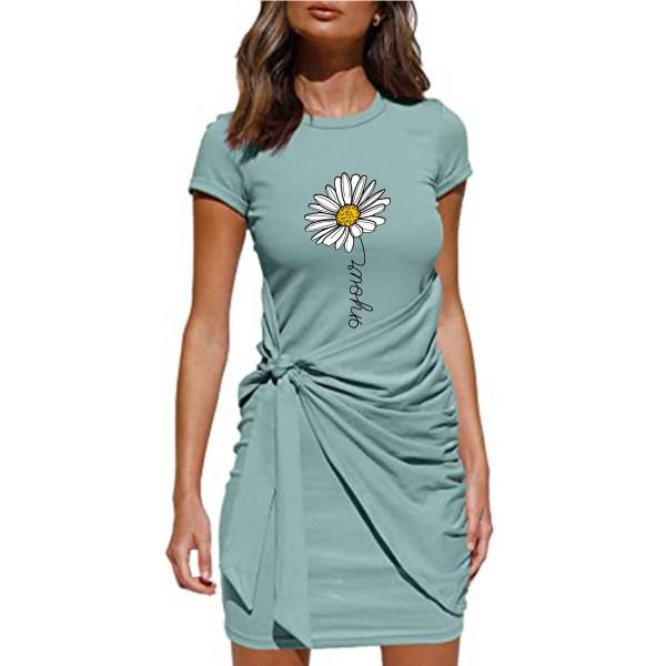 Kvinnors blommigtryckta kortärmad miniklänning snörning på sundress Light Blue 2XL