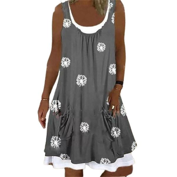 Kvinnor blommig rund hals ärmlös klänning sommar Baggy Tank klänning Grey M