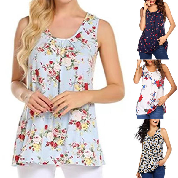 Kvinnor blommig ärmlös väst sommar casual blus T-shirt Red XL