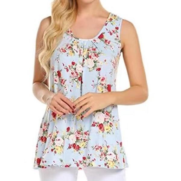 Kvinnor blommig ärmlös väst sommar casual blus T-shirt Blue M