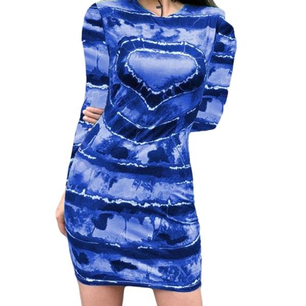 Kvinnor Hjärttryckt Långärmad Klänning Alla hjärtans dag Blå Blue 5XL