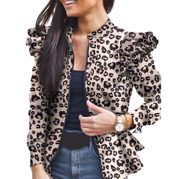 Kvinnor Ruffle Patchwork Print långärmad jacka med dragkedja