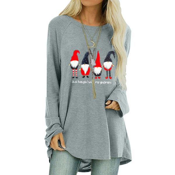 Kvinnors t-shirt dam långärmad rund hals Casual höst