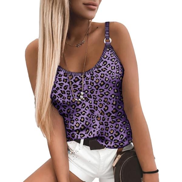 Kvinnor Leopardtryckt Ärmlös Tank Casual Vest T-shirt Toppar Purple 3XL