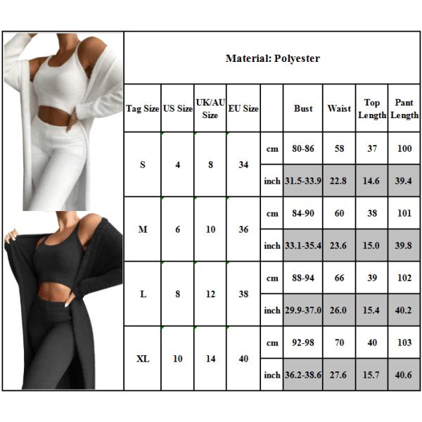 Kvinnor Lounge Wear Set Womens 3-delade träningsdräkter kofta Black L