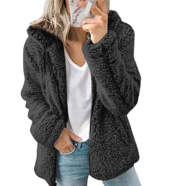 Kvinnors nya huva ylle fleece höst och vinter jacka rockar Black L