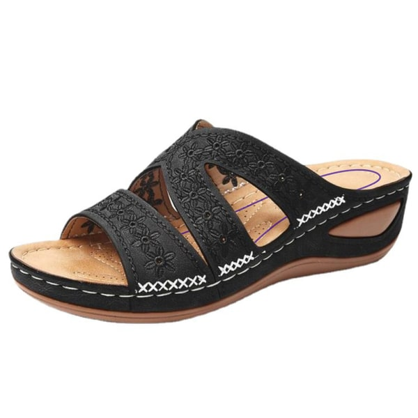 Kvinnors ortopediska sandaler med låg kil och öppen tå Mules Clogs tofflor Black 41