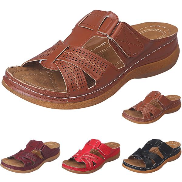 Ortopediska sandaler för kvinnor Sköna halkfria platta skor Brown 36