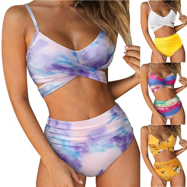 Baddräkt Bikini Set för kvinnor Baddräkt med hög midja