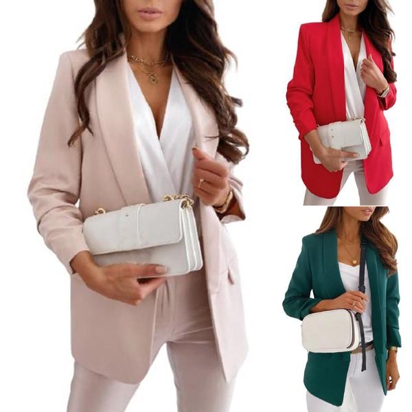 Kvinnor Plain Cardigan Coat Blazer Suit Jacket Work Business Green M