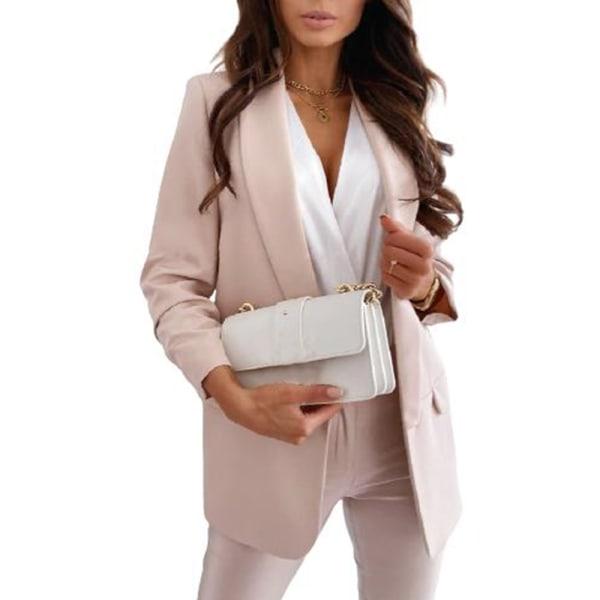 Kvinnor Plain Cardigan Coat Blazer Suit Jacket Work Business Khaki L