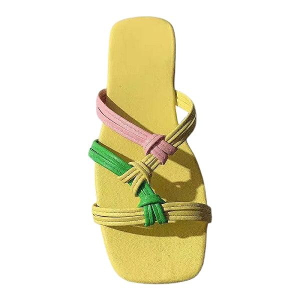 Kvinnor Vanliga Platta Sandaler Flip Sandaler Sommarskor Gul Yellow 42