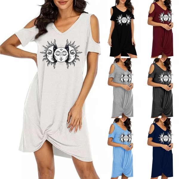 Kvinnors kalla axel kortärmad sol T-shirt klänningar White 2XL