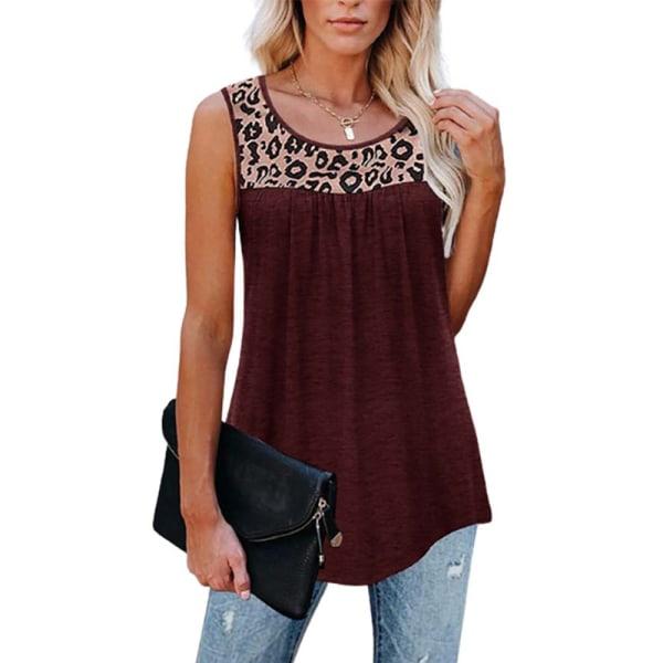 Leopardtryckt sommarlinne för kvinnor Fritidsblus Wine Red L
