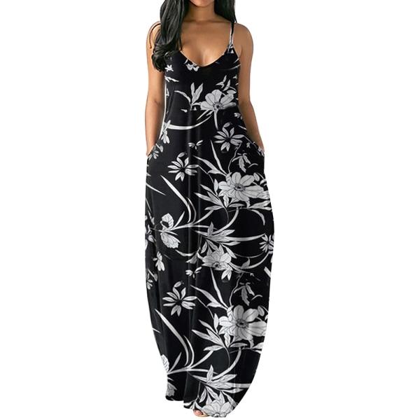 Ärmlös klänning sommarlov Maxiklänningar för kvinnor Blue 2XL