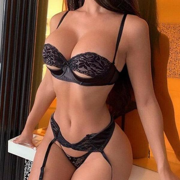 Kvinnors sexiga spetsunderkläder-bh-rem med underkläder nattkläder Black S