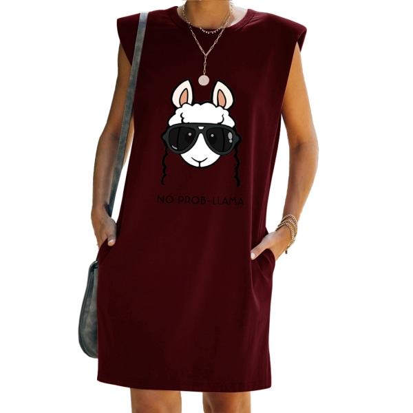 Kvinnor får tryck ärmlös T-shirt klänning tunika mini sundress Red 2XL