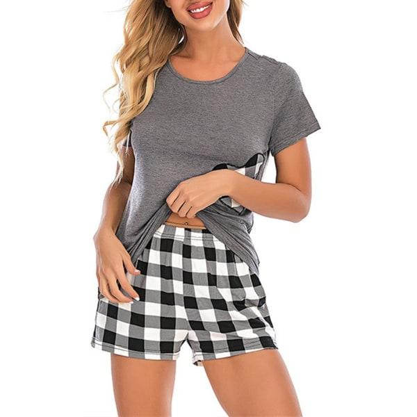 Kvinnor Kortärmad pyjamaset Hjärttryck Loungewear Grey 2XL