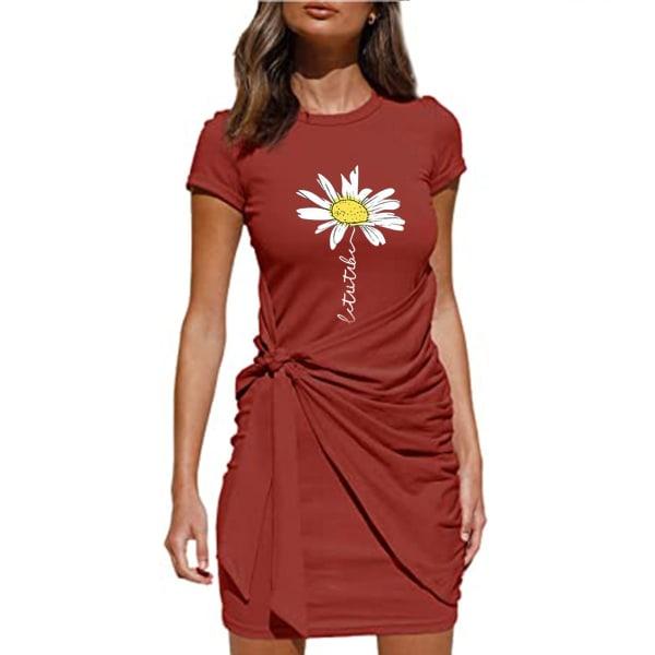 Kvinnor Kortärmad Crew Neck Floral Midi Dress Party Sundress Red XL