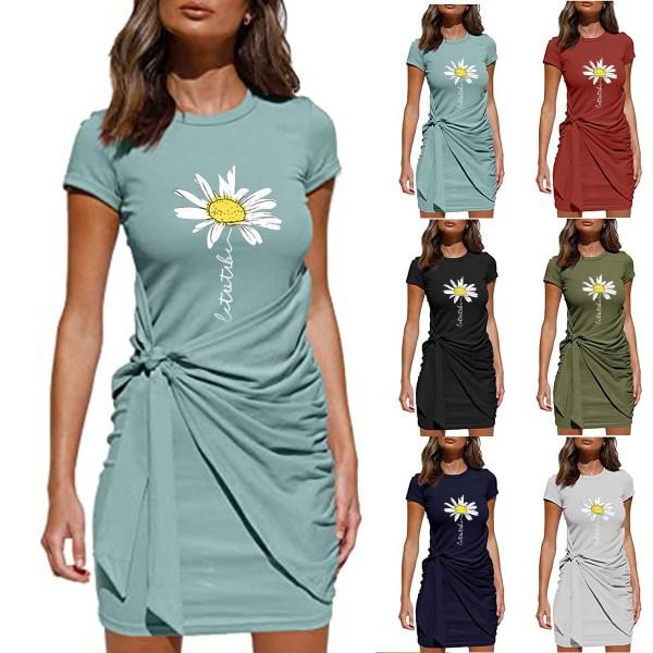 Kvinnor Kortärmad Crew Neck Floral Midi Dress Party Sundress Black L