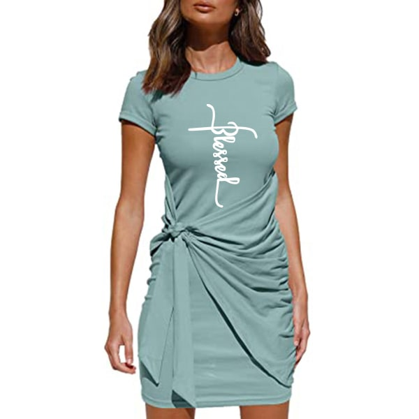 Kvinnor kort ärm Crew Neck blommig kort klänning tunika klänningar Green S